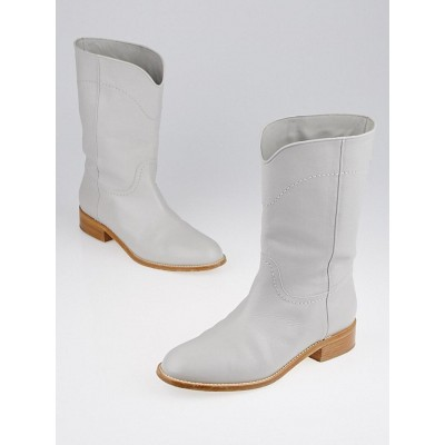 Chanel Grey Leather CC Cowboy Mid-Calf Flat Boots Size 8.5/39