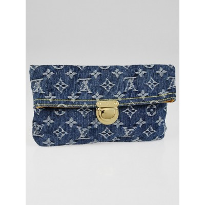 Louis Vuitton Blue Denim Monogram Denim Pochette Clutch Bag