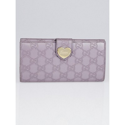 Gucci Metallic Lavender Guccissima Leather Engraved Heart Continental Wallet