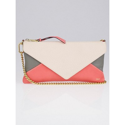 Chloe Pink/Grey Tricolor Leather Envelope Chain Clutch Bag