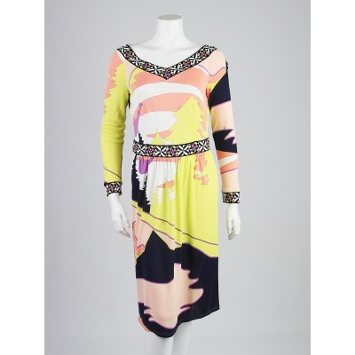 Emilio Pucci Pink/Yellow Print Viscose Long Sleeve Dress Size 6/40