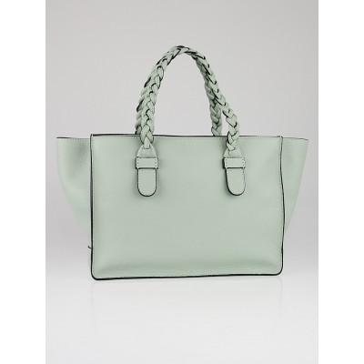 Valentino Light Green Pebbled Leather T.B.C. Braided Small Tote Bag