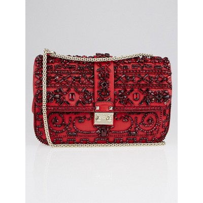 Valentino Red Calfskin Leather and Crystal Glam Lock Large Flap Bag