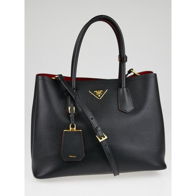 Prada Black Saffiano Leather Double Handle Tote Bag B2756T