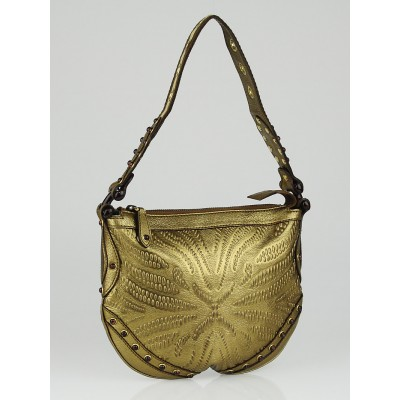 Gucci Gold Embossed Leather Studded Pelham Small Shoulder Bag