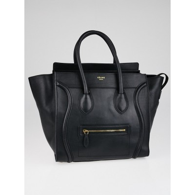 Celine Black Smooth Calfskin Leather Mini Luggage Tote Bag