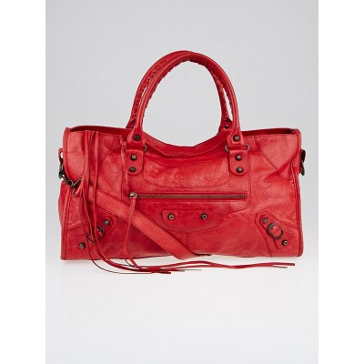 Balenciaga Coquelicot Lambskin Leather Motorcycle Part Time Bag