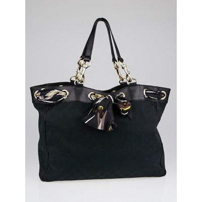 Gucci Black GG Canvas Large Positano Tote Bag