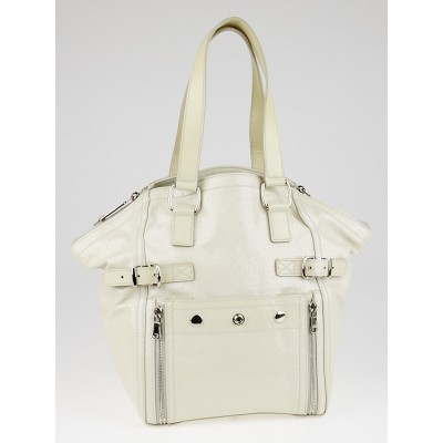 Yves Saint Laurent Dark White Embossed Patent Leather Medium Downtown Bag