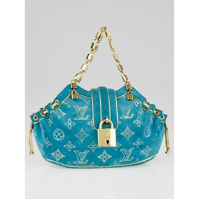 Louis Vuitton Limited Edition Turquoise Monogram Suede Theda PM Bag