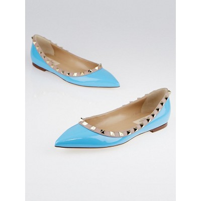 Valentino Bright Blue/Beige Patent Leather Rockstud Flats Size 5.5/36