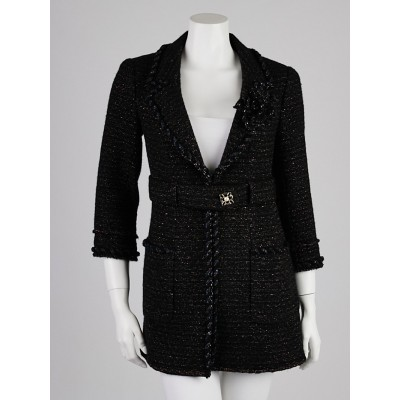 Chanel Black Tweed Wool Blend Belted Coat Size 2/34