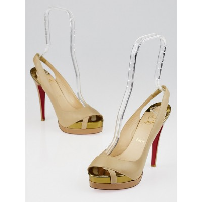 Christian Louboutin Beige Leather Very Croise 140 Double Platform Slingback Heels Size 6.5/37