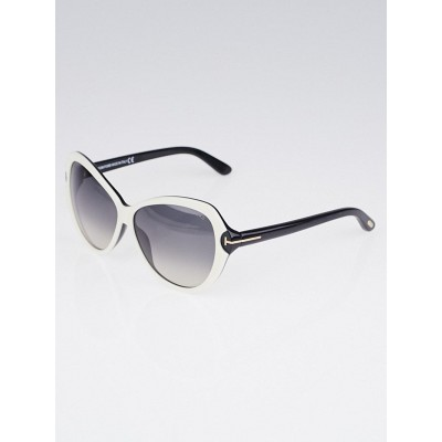 Tom Ford Black and White Oversized Frame Valentina Sunglasses -TF326