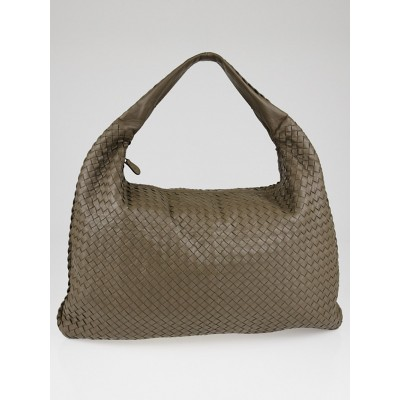 Bottega Veneta Steel Intrecciato Woven Nappa Leather Maxi Veneta Hobo Bag