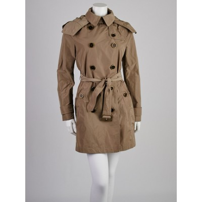 Burberry Brit Sisal Polyester Balmoral Hooded Trench Coat Size 6