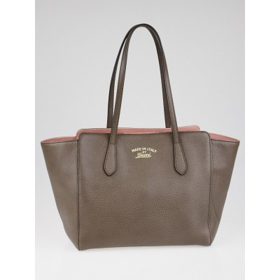Gucci Taupe/Pink Pebbled Calfskin Leather Small Swing Tote Bag