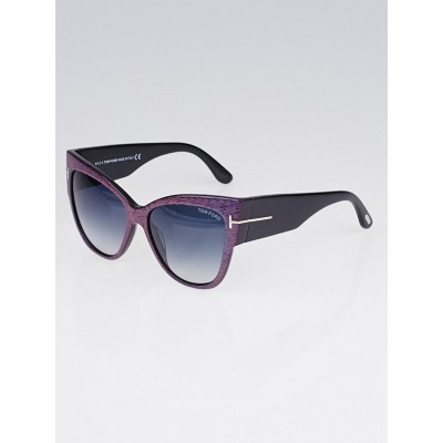 Tom Ford Purple Iridescent Acetate Frame Cat-Eye Anoushka Sunglasses-TF371