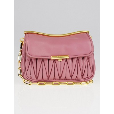 Miu Miu Pink Matelasse Lambskin Leather Frame Crossbody Bag