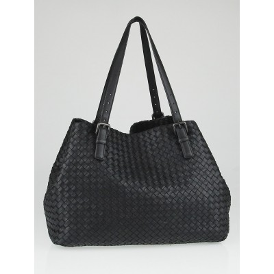 Bottega Veneta Black Intrecciato Woven Nappa Leather Large Tote Bag