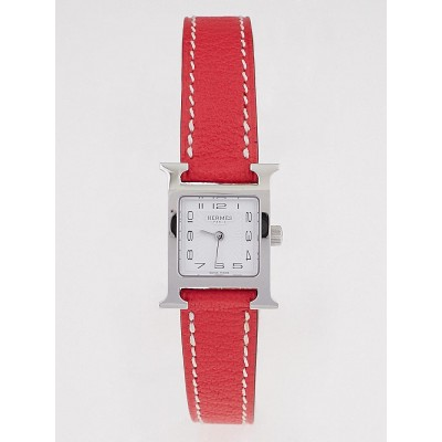 Hermes Bougainvillea Leather and Stainless Steel Heure H TPM Quartz Watch
