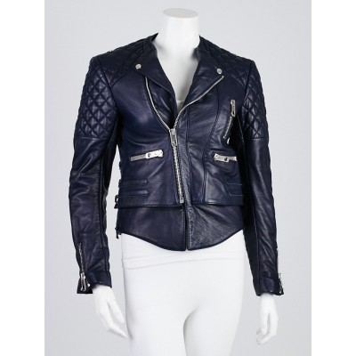 Balenciaga Navy Blue Quilted Lambskin Leather Biker Jacket Size 6/38