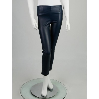 Louis Vuitton Blue Lambskin Stretch Leather Leggings Size 6/38