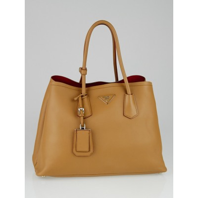 Prada Caramel City Calfskin Leather Double Handle Tote Bag BR5070