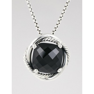 David Yurman 14mm Black Onyx and Sterling Silver Infinity Pendant Necklace