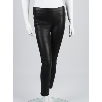 Gucci Black Stretch Leather Leggings Size 6/40