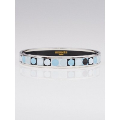 Hermes Blue Deco Dot Printed Enamel Palladium Plated Narrow Bangle Bracelet Size 65