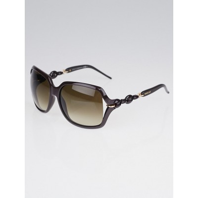 Gucci Brown Frame Gradient Tint Oversized Chain Sunglasses-3584