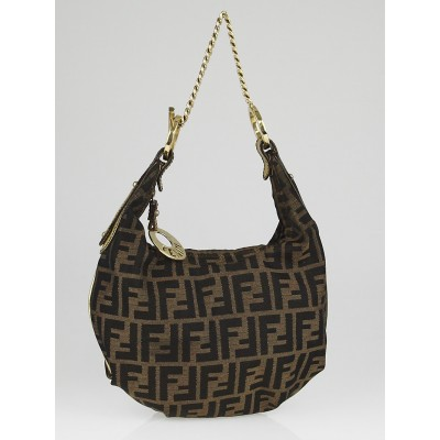 Fendi Tobacco Zucca Canvas Chef Chain Hobo Bag