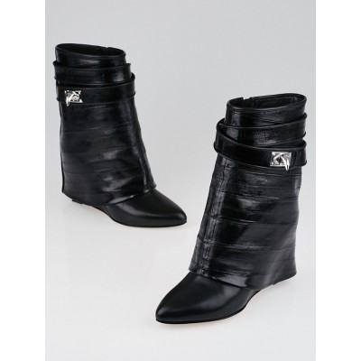 Givenchy Black Eel Shark Lock Fold-Over Boots Size 7/37.5