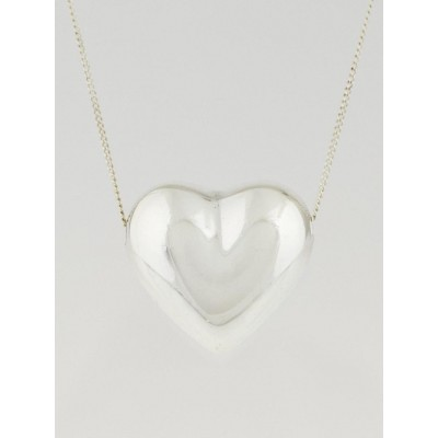 Tiffany & Co. Sterling Silver Puffed Heart Pendant Necklace