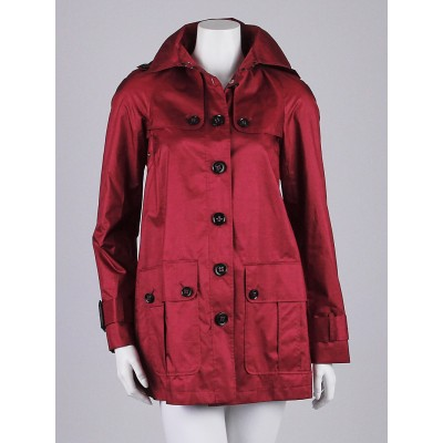 Burberry London Magenta Polyester Rain Coat Size 2