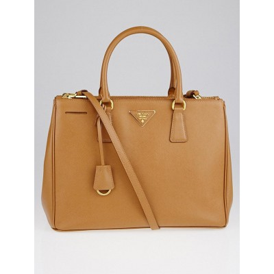 Prada Caramel Saffiano Lux Leather Medium Double Zip Tote Bag BN2274