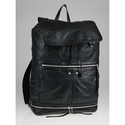 Balenciaga Black Lambskin Leather Arena Drawstring Backpack Bag