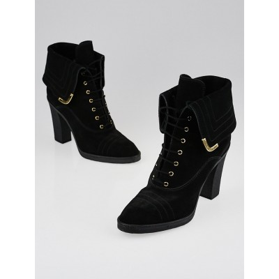 Louis Vuitton Black Suede Lace Up Ankle Boots Size 8.5/39