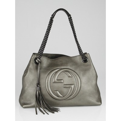 Gucci Dark Silver Pebbled Leather Soho Chain Tote Bag