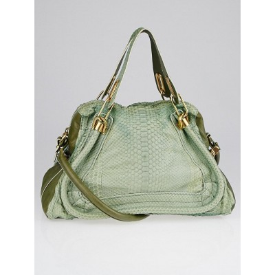 Chloe Green Python and Leather Medium Paraty Bag