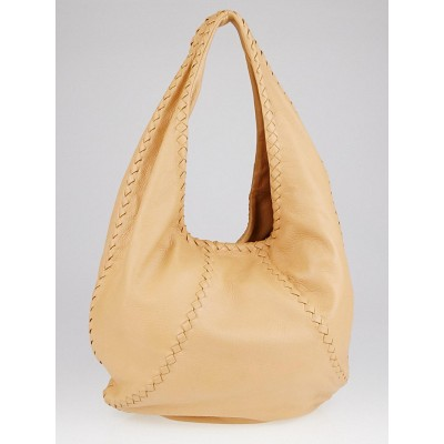 Bottega Veneta Carmel Cervo Leather Large Baseball Hobo Bag