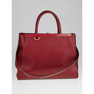 Fendi Dark Red Cherry Vitello Leather Medium 2Jours Elite Tote Bag 8BH250