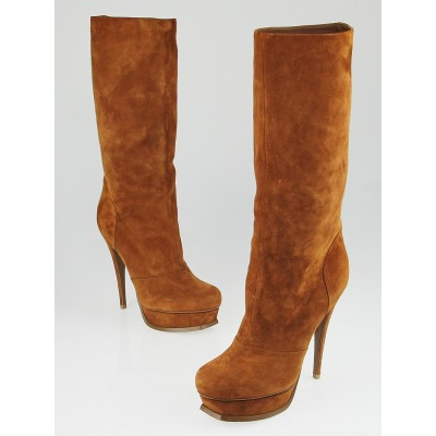Yves Saint Laurent Brown Suede Tribtoo Knee High Boots Size 9.5/40