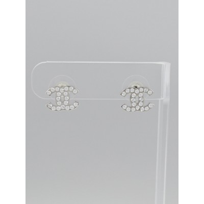 Chanel Silver Metal and Swarovski Crystal CC Stud Earrings
