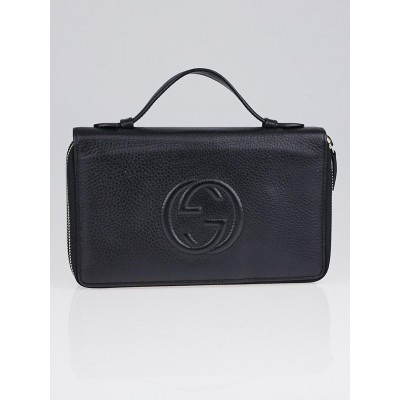 Gucci Black Pebbled Leather Soho Travel Document Case
