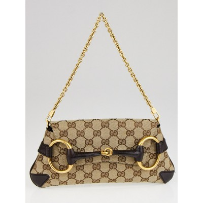 Gucci Beige/Ebony GG Canvas Horsebit Chain Clutch Bag