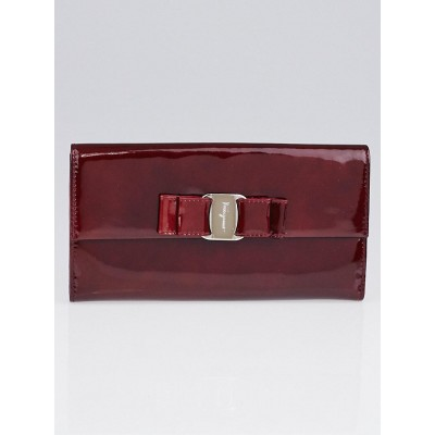 Salvatore Ferragamo Burgundy Patent Leather Vera Bow Wallet