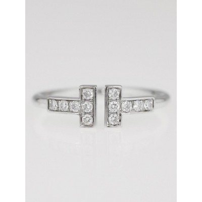 Tiffany & Co. 18k White Gold and Diamond Tiffany 'T' Wire Ring Size 5.5