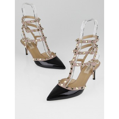 Valentino Black/Nude Patent Leather Rockstud T-Strap Kitten Heel Pumps Size 8.5/39